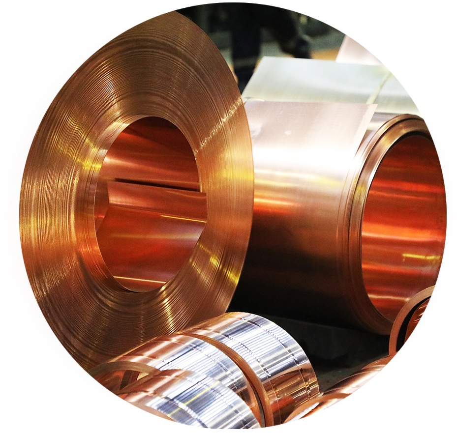 Pure copper rolls being produced