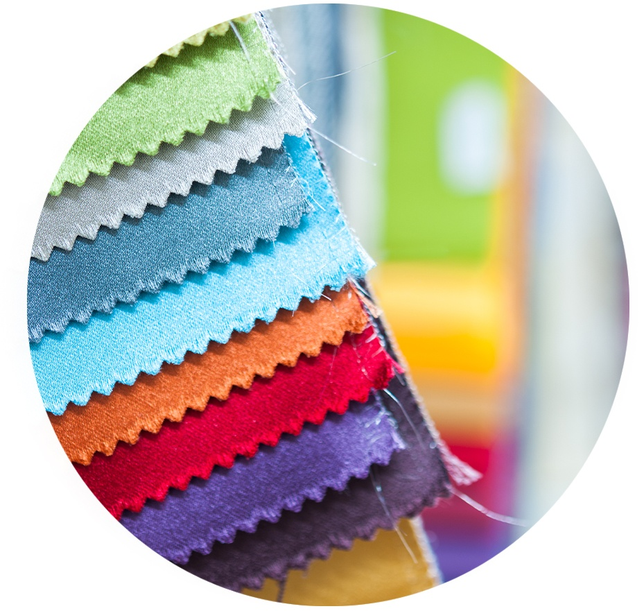 Textile fabric swatches in different colors